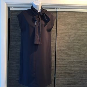 Navy Dress with Neck Bow